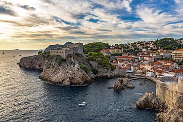 View of Fort Lovrjenac at sunset, Dubrovnik, Dubrovnik-Neretva County, Croatia