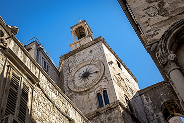 The Tower Clock in Nardoni Trg in the Old City, Split, Croatia