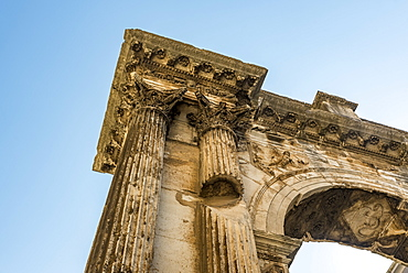 Detail of the Arch of the Sergians, an Ancient Roman triumphal arch, Pula, Istria, Croatia