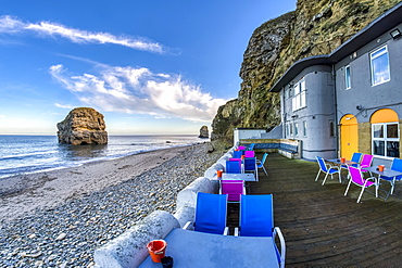 Colourful restaurant patio along the Atlantic coast, South Shields, Tyne and Wear, England