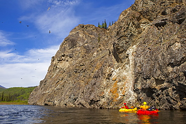 Two women packrafting down the Charley River watching and photographing the cliff swallows taking flight in summertime, Yukon–Charley Rivers National Preserve, Alaska, United States of America
