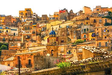 Houses on a hillside in the historic Ragusa ibla, Ragusa, Sicily, Italy