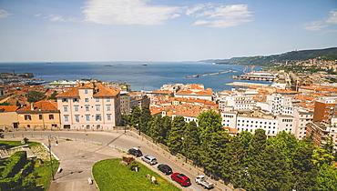 View of the Adriatic Sea from a rooftop, Trieste, Friuli Venezia Giulia, Italy