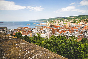 View of Trieste and the Adriatic Sea from a rooftop, Trieste, Friuli Venezia Giulia, Italy