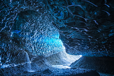 Large ice cave in the Vatnajokull ice cap, Southern Iceland, Iceland