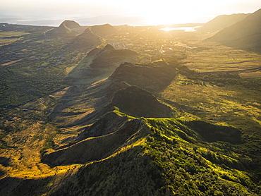 Aerial image of the lush mountains surrounding Oahu, Oahu, Hawaii, United States of America
