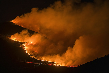 Forest fire at night, Klamath Falls, Oregon, United States of America