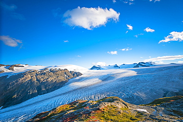 Kenai Fjords National Park and Exit Glacier on a mid-summer day as seen from the Harding Icefield Trail in South-central Alaska, Alaska, United States of America