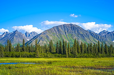 Clouds rolling across mountain peaks in the Talkeetna Range in South-central Alaska on a sunny summer day, Alaska, United States of America