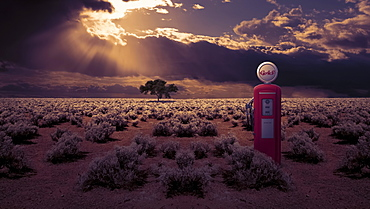 Abandoned gas station pump in an overgrown field under storm clouds with sun beams shining through, composite image