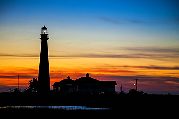 Point Bolivar Lighthouse at sunset, Point Bolivar, Texas, United States of America