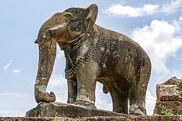 Stone elephant at corner of ruined temple, East Mebon, Chang Puak Camp, Angkor Wat, Siem Reap, Siem Reap Province, Cambodia