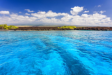 View of the coastline from a boat on Manuka Bay, Maui, Hawaii, United States of America