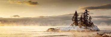 Island in Lake Superior at sunrise, Grand Marais, Minnesota, United States of America
