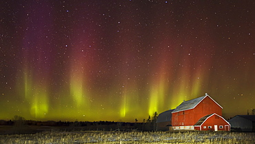 Red barn at night with aurora borealis, Thunder Bay, Ontario, Canada