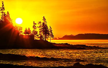 Bright sunrise along the coast of Port Clyde, Cushing, Maine, United States of America