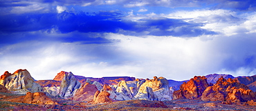 Stitched panorama composite of the White Domes Trail with sandstone formations, Valley of Fire State Park, Nevada, United States of America