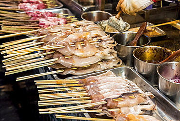 Traditional Chinese food at the famous food market in the Muslim Quarter, Xian, Shaanxi Province, China