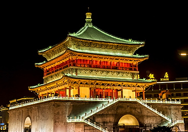 Xian's Bell Tower at night, Xian, Shaanxi Province, China