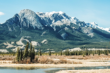 Rugged mountains of the Canadian Rocky Mountains in Jasper National Park, Alberta, Canada