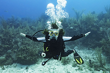 Scuba diver at Three Amigos Dive Site, Belize Barrier Reef, Belize