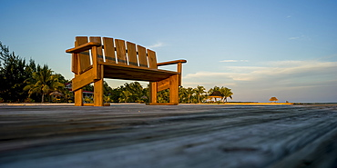 A wooden bench on a dock with palm trees along the coast, Belize