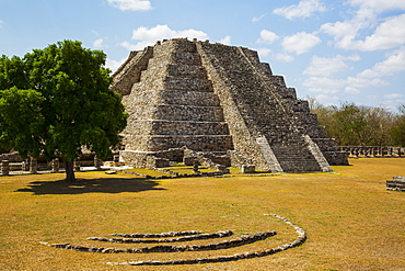 Castle of Kululcan, Mayapan Archaeological Site, Mayan Ruins, Yucatan, Mexico