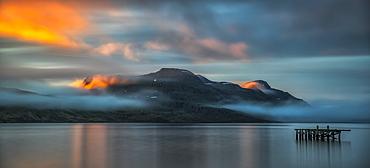 Sunset light over the fjord near the remote town of Djupavik along the Strandir Coast, Djupavik, West Fjords, Iceland