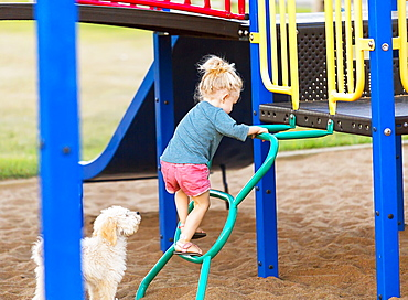 A young girl playing in a playground on a warm fall day with her pet dog by her side, Spruce Grove, Alberta, Canada