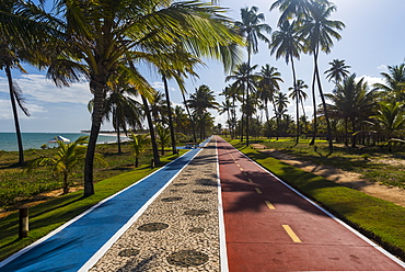Bike and runing paths on one of the beaches outside of Slavador, Salvador, Bahia, Brazil