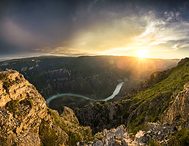 View of the Sulak canyon and the river at the sunset, Dubki, Dagestan Republic, Russia