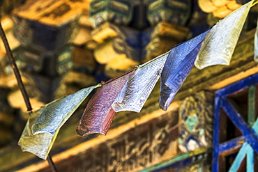 Buddhist prayer flags seen along the Shakti Sikkim village walk, Sikkim, India