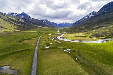 Aerial view of the scenic landscape of Northern Iceland, with Highway 1, the ring road, Iceland