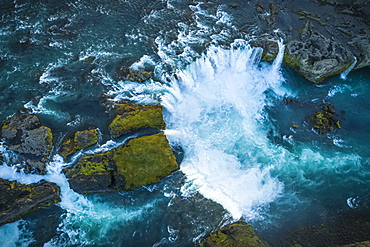 Aerial view of Godafoss, also known as 'Waterfalls of the gods', Iceland