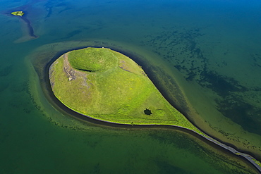 Extinct volcano in Lake Myvatn, Northern Iceland, Iceland