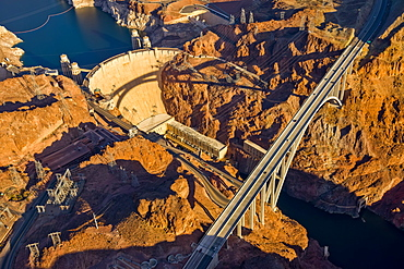 Aerial view of Hoover Dam and roadway, Las Vegas, Nevada, United States of America