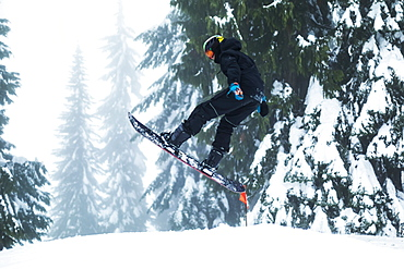 A teenage boy snowboarding on Mount Seymore, North Vancouver, Vancouver, British Columbia, Canada