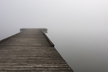 A small wooden dock with dense fog at the end over the water of Scott Lake in autumn, Olympia, Washington, United States of America