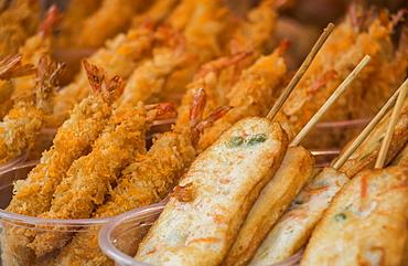 Deep-fried seafood for sale on Kulangsu Island, Xiamen, Fujian, China