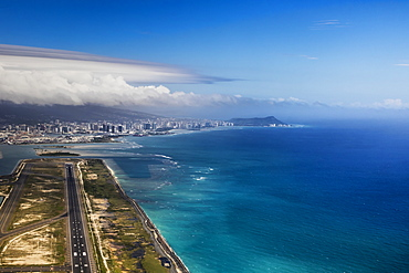 Aerial view of Waikiki from Honolulu airport with Diamond head in the distance, Honolulu, Oahu, Hawaii, United States of America