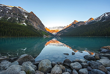 Sunrise at Lake Louise in the Rocky Mountains, Banff National Park, Lake Louise, Alberta, Canada