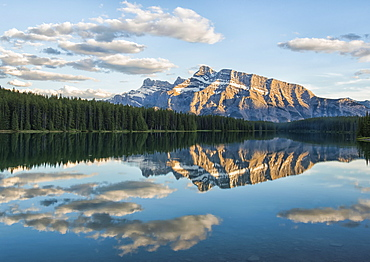 View of the back of Mount Rundle reflected in the water of Two Jack Lake, Banff National Park, Banff, Alberta, Canada