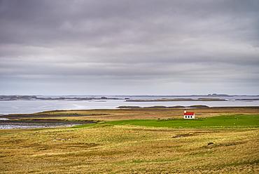 Remote church amongst fields near Stykkisholmur, Snaefellsnes peninsula, Iceland