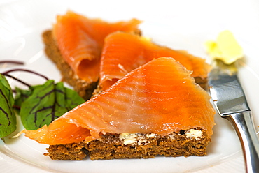 Slices of geothermal bread with smoked trout, Laugarvatn Fontana Cafe and Spa, Lake Laugarvatn, Iceland