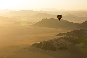 Hot air balloon ride over the sand dunes in the Namib Desert at sunrise, Sossusvlei, Hardap Region, Namibia
