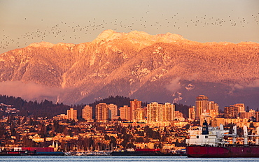 The North Vancouver skyline and Coast Mountains glowing at dusk and ships in the harbour, Vancouver, British Columbia, Canada