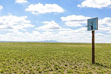 A basketball hoop with backboard in the middle of a grass field in the Gobi desert, Ulaanbaatar, Ulaanbattar, Mongolia