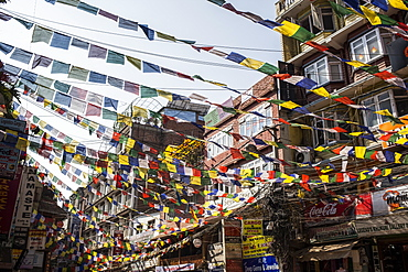 Buddhist prayer flags in the city of Kathmandu, Kathmandu, Nepal