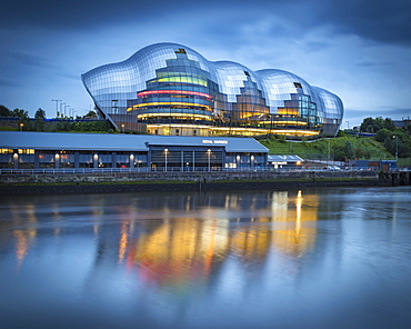 Sage Gateshead concert hall reflections in the River Tyne, Gateshead, Tyne and Wear, England