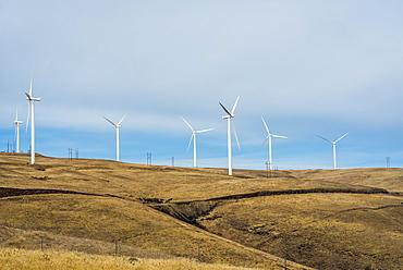 Wind turbines mark the horizon in Eastern Washington, Maryhill, Washington, United States of America